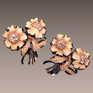 Celluloid Flower Dress Clips - Lovely Pair