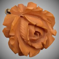 Carved Bakelite Rose Pendant