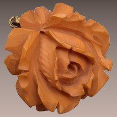 Carved Bakelite Rose Pendant