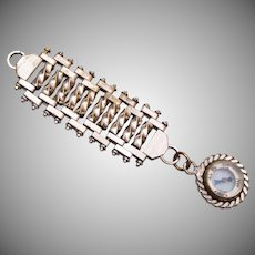Silver Tone Watch Chain With Compass Fob