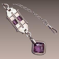 Beautiful Purple Stone Watch Chain and Fob