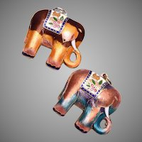 Matching Pair of Enameled Elephant Charms