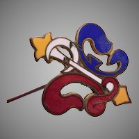 """8"""" Red, Yellow and Blue Enameled Hat Pin"""