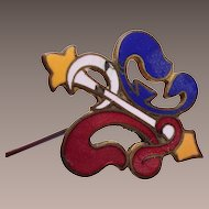 "8"" Red, Yellow and Blue Enameled Hat Pin"