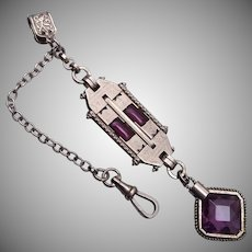 Fabulous Purple Stone and Silver Tone Art Deco Watch Chain and Fob