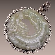 Sterling China Jade Dragon Pendant