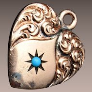 Gold Filled Puffy Heart Charm With Turquoise