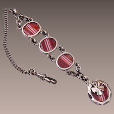 4-Leaf Clover and Striped Agate Watch Fob and Chain
