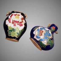 Pair of Vintage Cloisonné Charm Vases