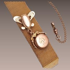 Gold Filled and Mesh Watch Chain and Locket Fob