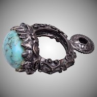 Large Pendant Charm With Faux Turquoise Cabochon