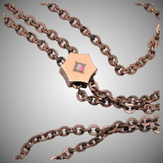 Gold Filled Hexagon Slide Necklace With Opal