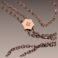 Gold Filled Hexigon Slide Necklace With Opal