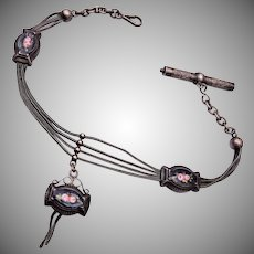 Silver and Enameled Watch Chain and Fob