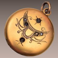 SKM Co. Gold Filled Locket with Stones