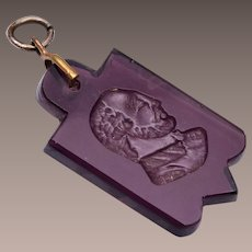 Purple Glass Intaglio Charm or Fob