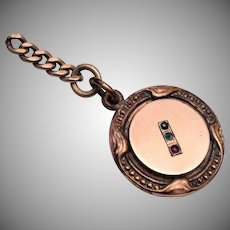 Gold Filled Watch Fob With Colored Stones