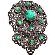 Green Rose Cut Rhinestone Dress Clip