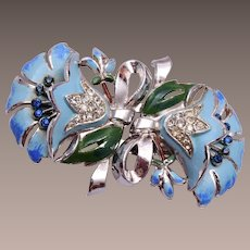 Coro Blue Flower Duette (Brooch or Dress Clips)