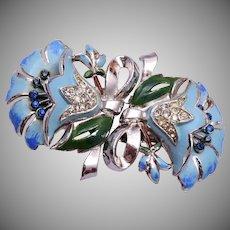 Coro Blue Flower Duette (Brooch or Dress Clips)