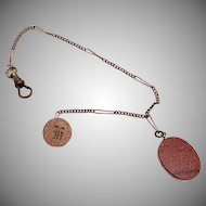 Gold Filled Watch Chain with Gold Stone Fob