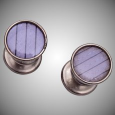 M.I. USA OVAL Purple Celluloid Cufflinks