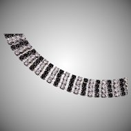 Black and White Eisenberg Ice Prong Set Rhinestone Bracelet