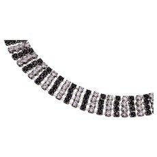 Black and White Eisenberg Ice Prong Set Rhinestone Bracelet