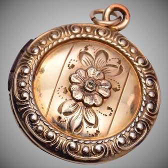 Sterling and 12kt GF Locket with Stone