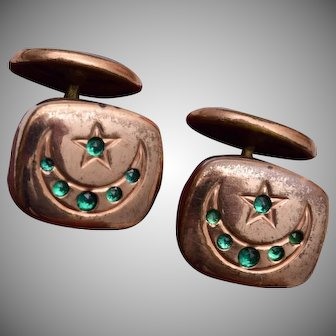 Star and Crescent Moon Green Stone Cuff Links