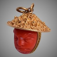 14kt Gold and Carved Coral Oriental Man Charm/Pendant