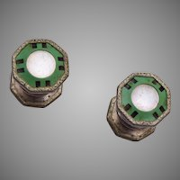 Snap Apart Green and Mother of Pearl Cuff Links