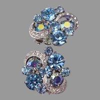 Kramer Light Blue Rhinestone Earrings