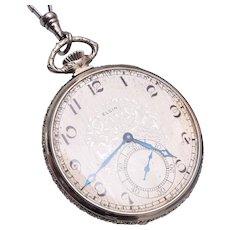 Elgin White Gold Pocket Watch Still Runs - In Great Condition