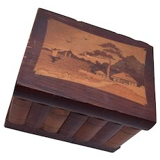Inlaid Wooden Box With Secret Compartment and Key