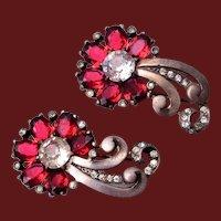 Sterling Red Rhinestone Fur Clip Pair