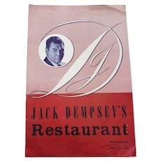 1953 Jack Dempsey's Restaurant Menu