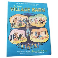 The Village Barn in Greenwich Village Menu 1950's