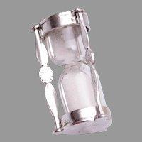 Sterling Mechanical Hour Glass Charm