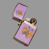 Small Cigarette Lighter Charm 1960's Flower Power