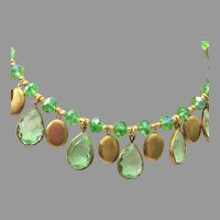 Green Crystal Necklace with 15 Lockets!