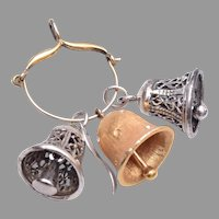 Sterling Charm Holder with 2 Sterling Bell Charms and One Gold Tone Bell