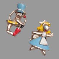 Cute Enamel Figural Upholstery Pins