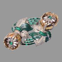 Green Quivering Camellia Coro Duette Brooch/Dress Clips