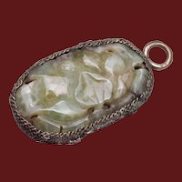 Chinese Carved Jade Pendant in Silver Filigree