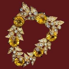 Yellow Rhinestone Dress Clip