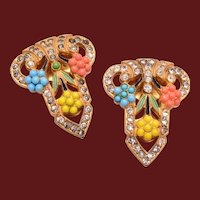 2 Beautiful Vintage Dress Clips with a Colorful Ballotini Design