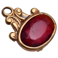 Brass and Red Stone Watch Fob or Charm
