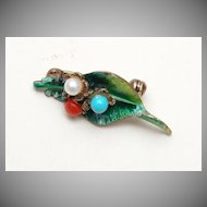 Sterling Germany Enamel, Coral, Turquoise and Pearl Brooch