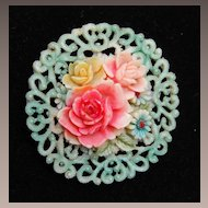 Beautiful Dyed Celluloid Brooch Marked Japan